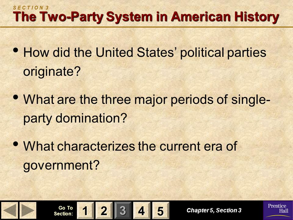 S E C T I O N 3 The Two-Party System in American History