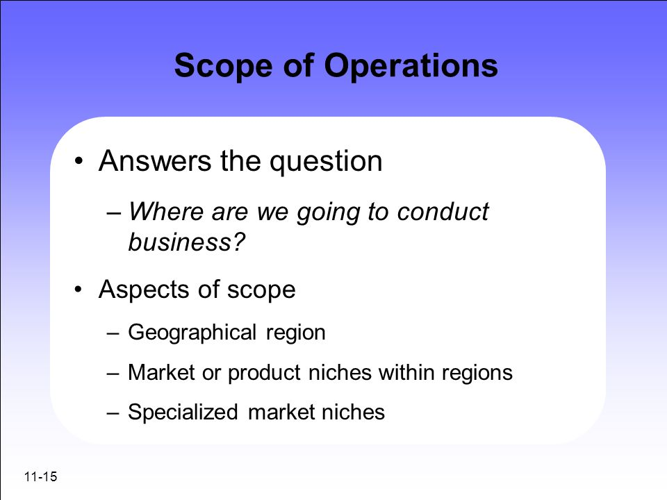 Scope of Operations Answers the question