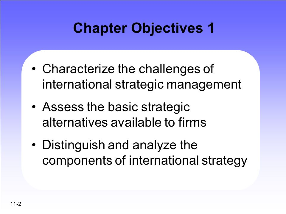 Chapter Objectives 1Characterize the challenges of international strategic management. Assess the basic strategic alternatives available to firms.
