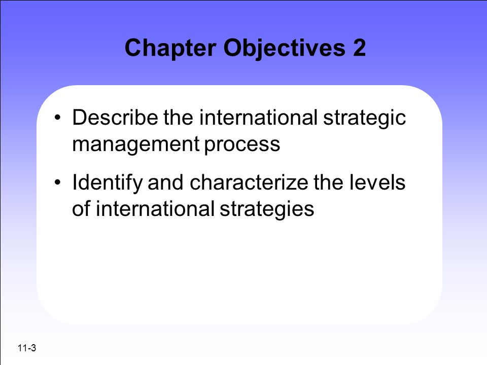 Chapter Objectives 2 Describe the international strategic management process. Identify and characterize the levels of international strategies.