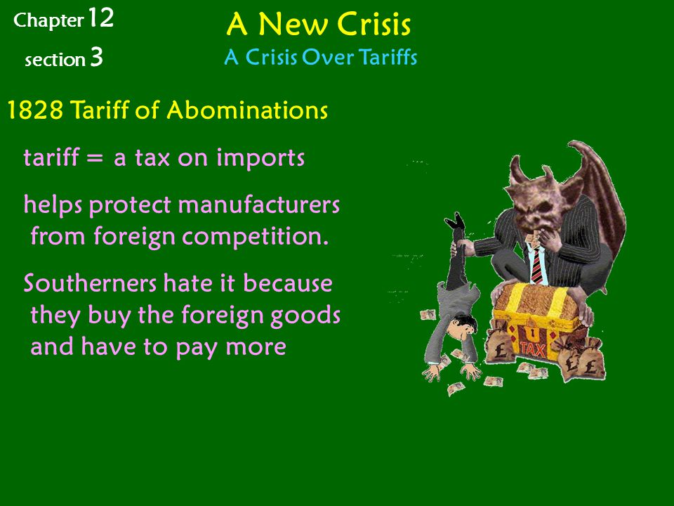 A New Crisis 1828 Tariff of Abominations tariff = a tax on imports
