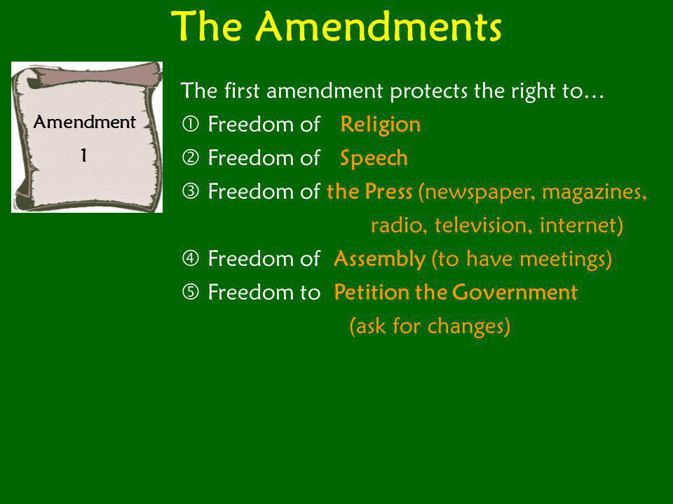 The Amendments The first amendment protects the right to…