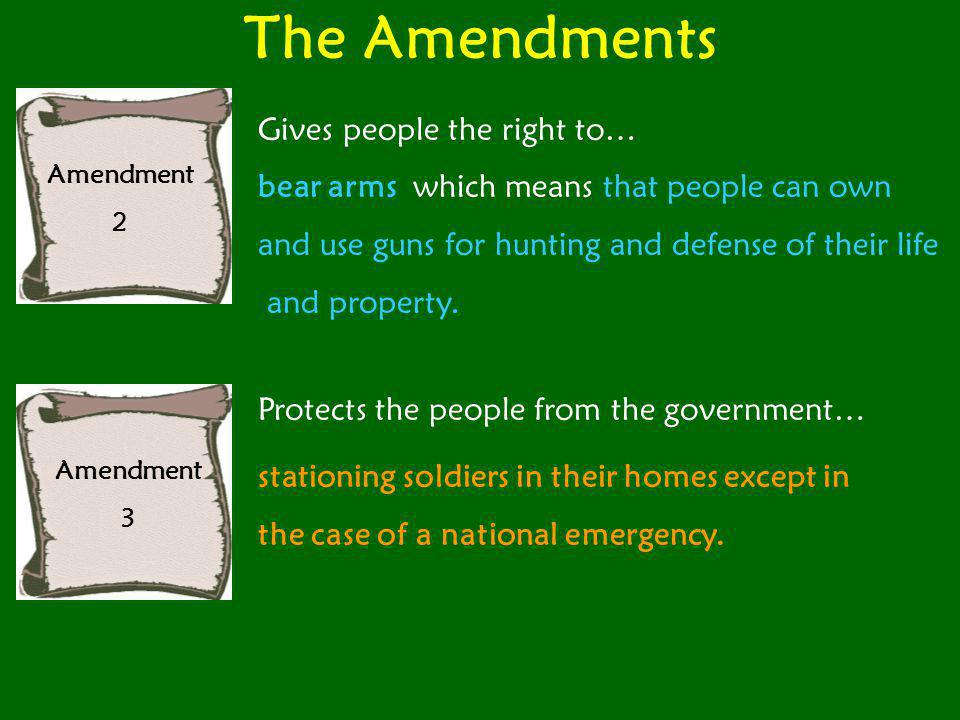 The Amendments Gives people the right to…