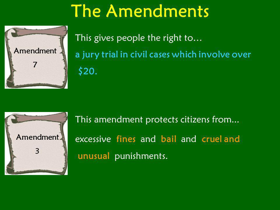 The Amendments This gives people the right to…