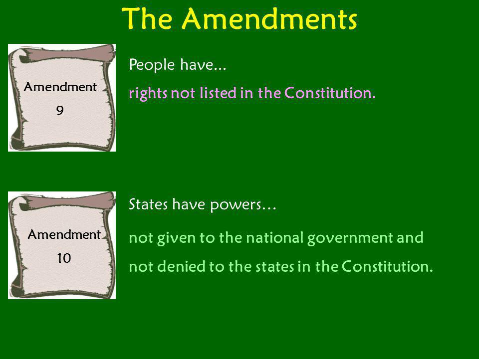 The Amendments People have... rights not listed in the Constitution.