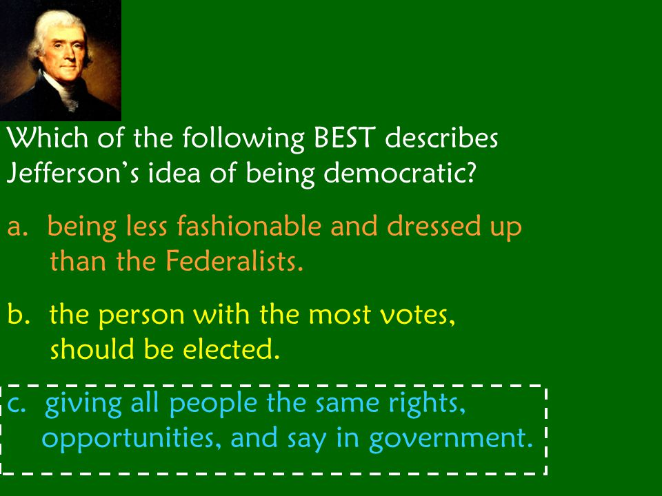 Which of the following BEST describes Jefferson's idea of being democratic