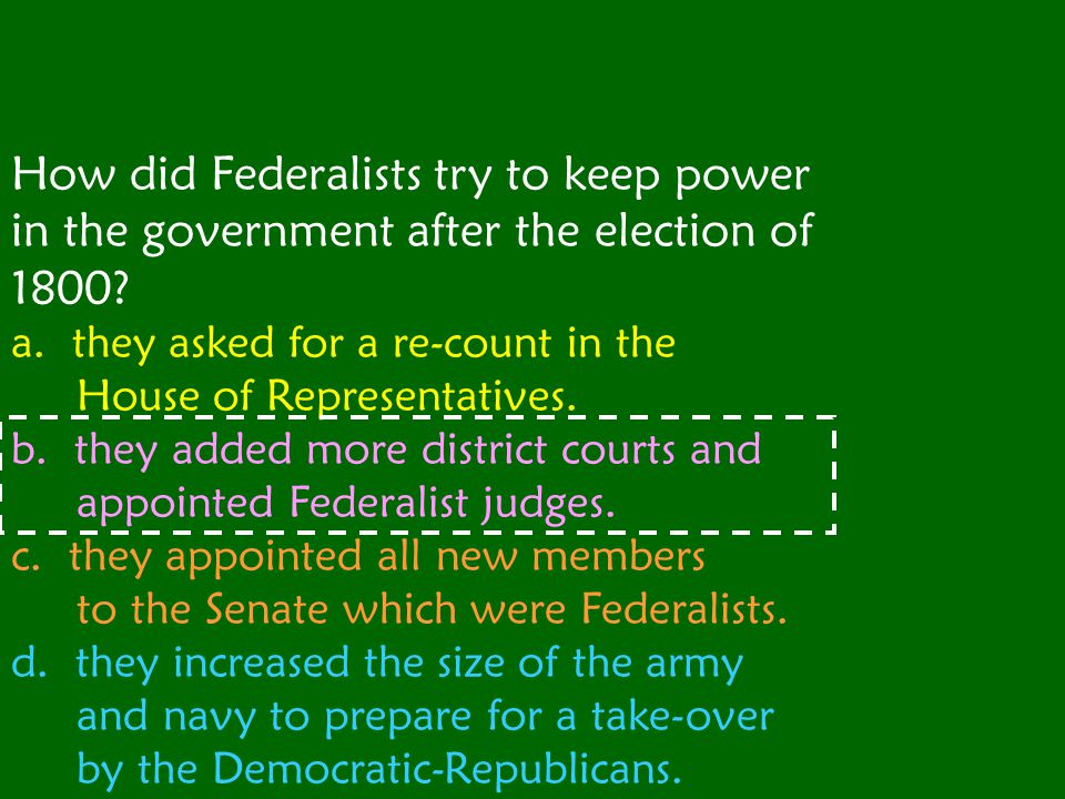 How did Federalists try to keep power in the government after the election of 1800