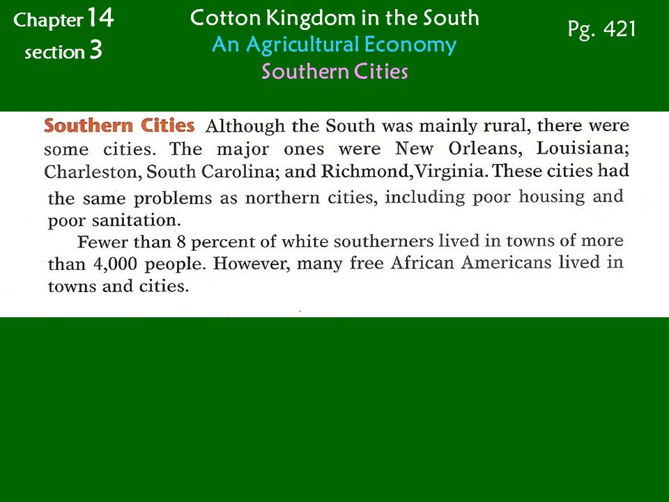 Cotton Kingdom in the South An Agricultural Economy