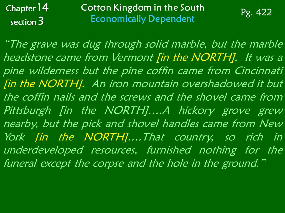 Cotton Kingdom in the South Economically Dependent