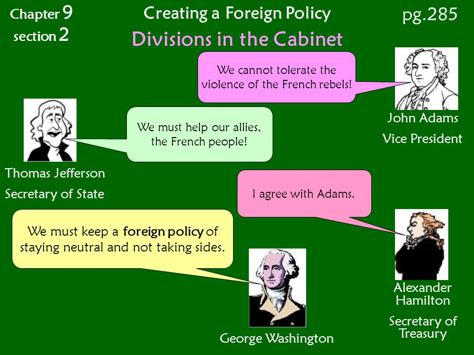 Creating a Foreign Policy Divisions in the Cabinet