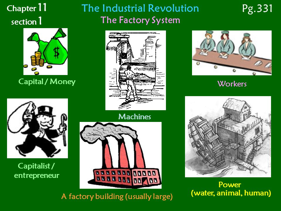 Pg.331 The Industrial Revolution The Factory System Chapter 11
