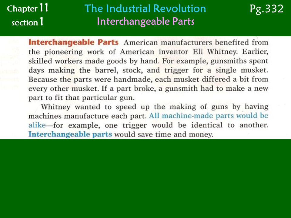 The Industrial Revolution Interchangeable Parts