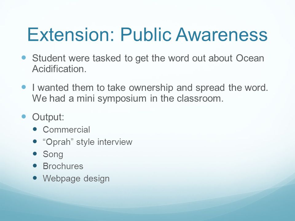 Extension: Public Awareness