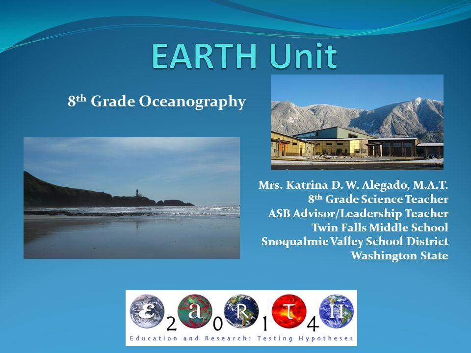 EARTH Unit 8th Grade Oceanography Mrs. Katrina D. W. Alegado, M.A.T.