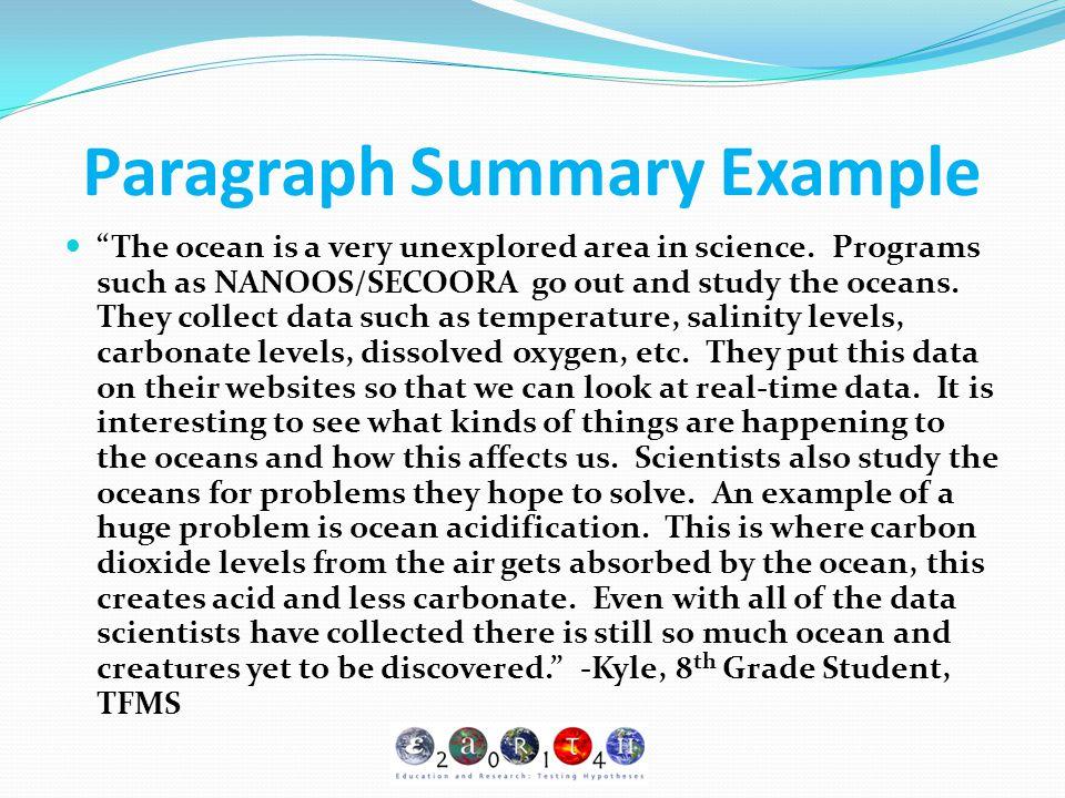 Paragraph Summary Example