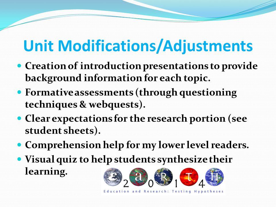 Unit Modifications/Adjustments