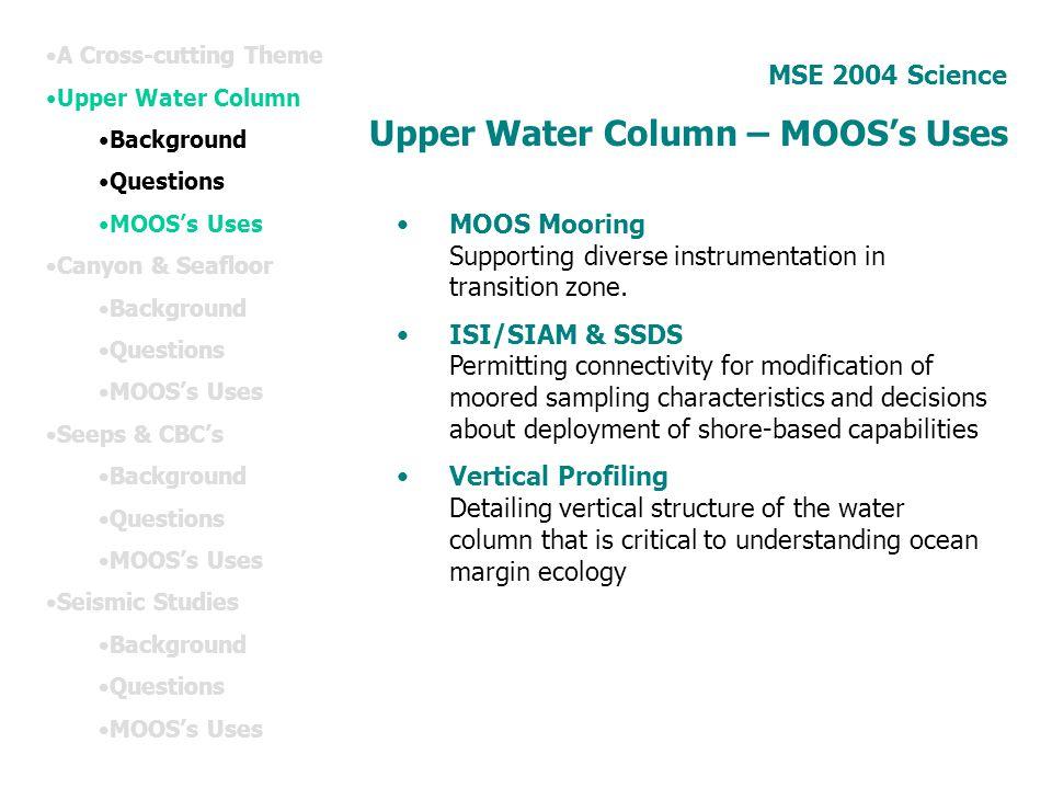 Upper Water Column – MOOS's Uses