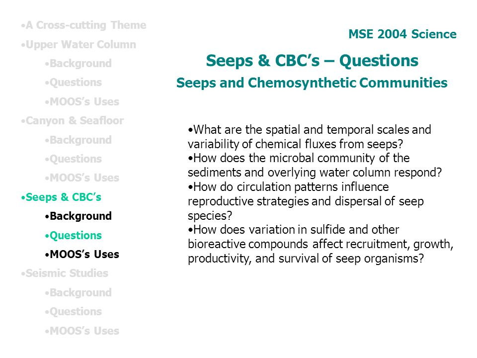 Seeps & CBC's – Questions Seeps and Chemosynthetic Communities