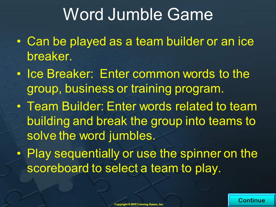 Word Jumble Game Can be played as a team builder or an ice breaker.