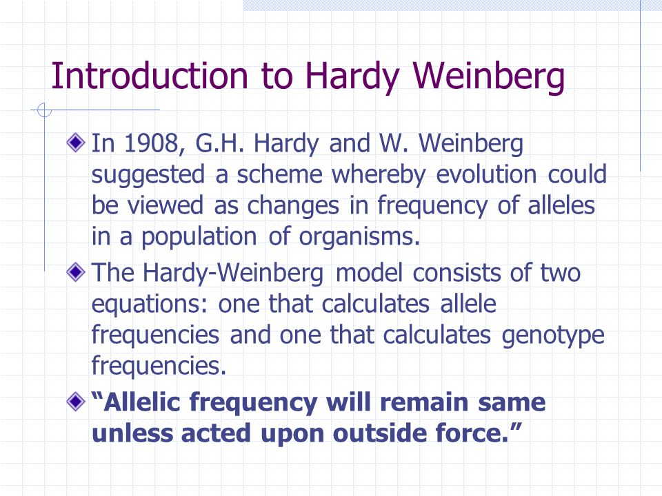 Introduction to Hardy Weinberg