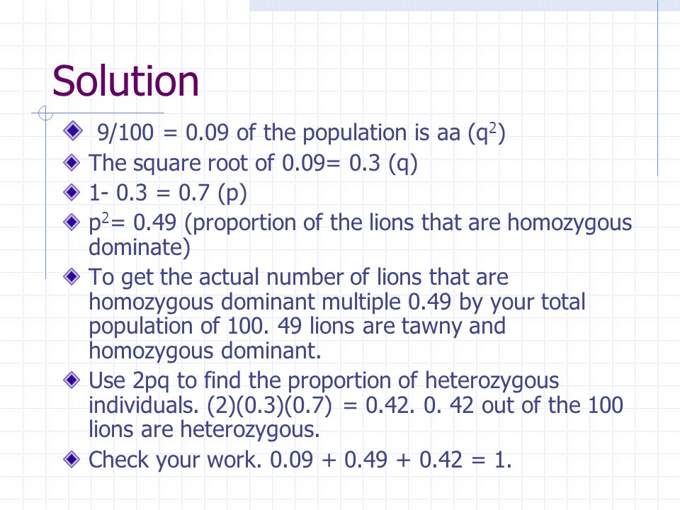 Solution 9/100 = 0.09 of the population is aa (q2)
