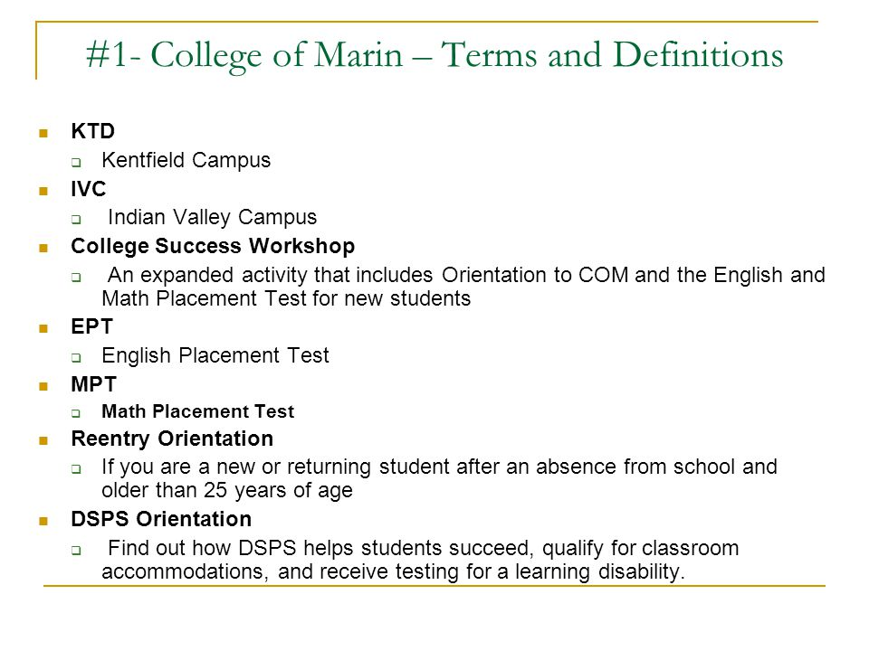 #1- College of Marin – Terms and Definitions