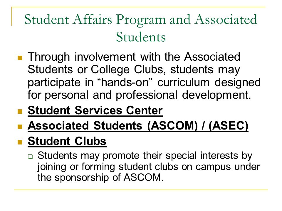 Student Affairs Program and Associated Students