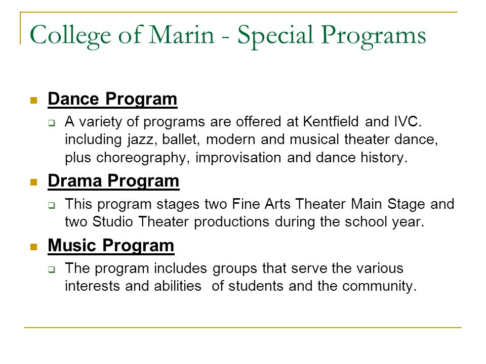 College of Marin - Special Programs