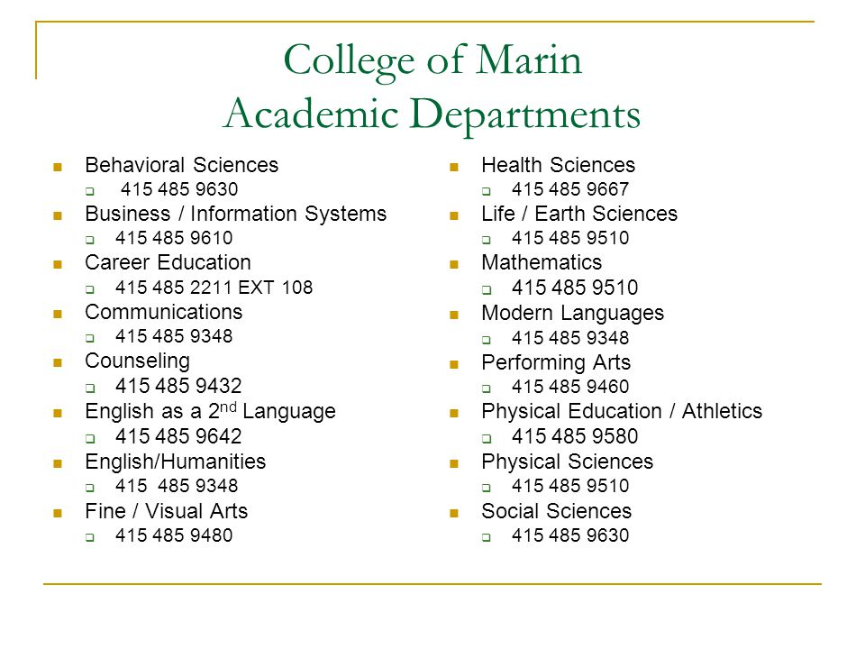 College of Marin Academic Departments