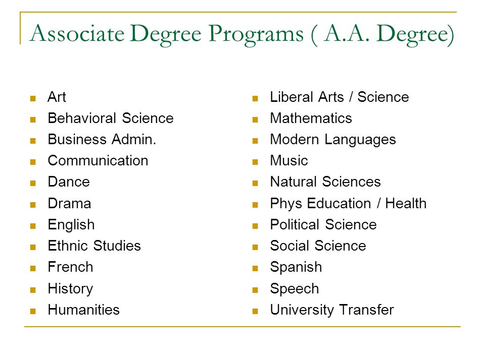 Associate Degree Programs ( A.A. Degree)