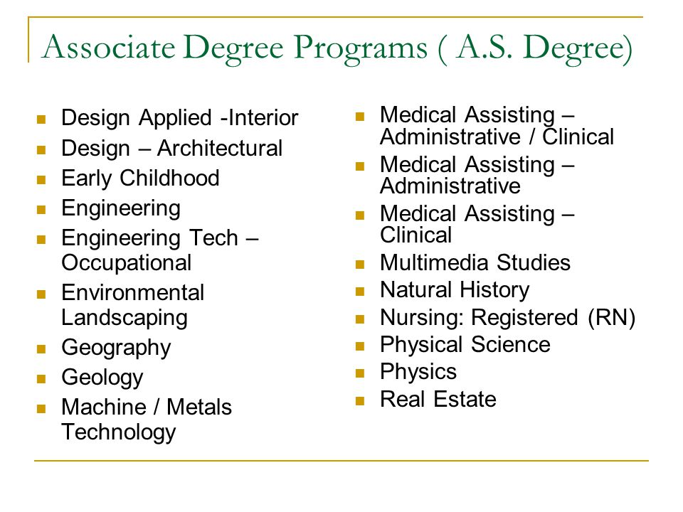 34 Associate Degree Programs AS Design Applied Interior Architectural Early Childhood Engineering Tech Occupational