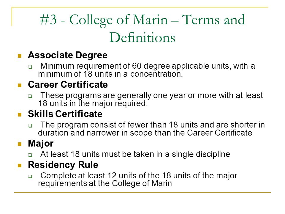 #3 - College of Marin – Terms and Definitions
