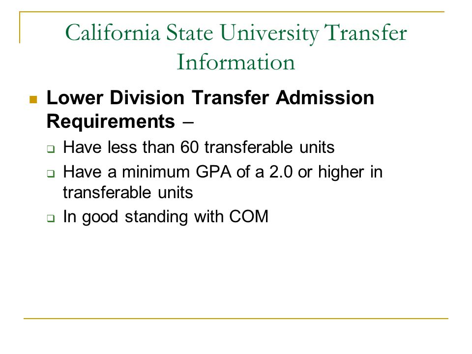 California State University Transfer Information