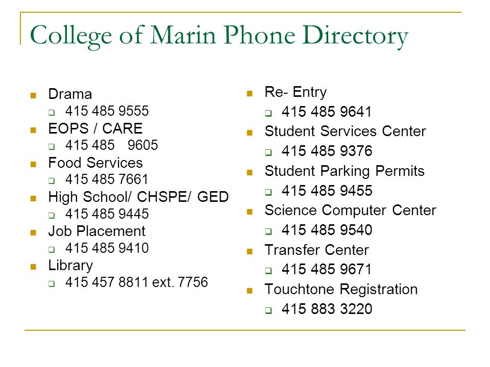 College of Marin Phone Directory