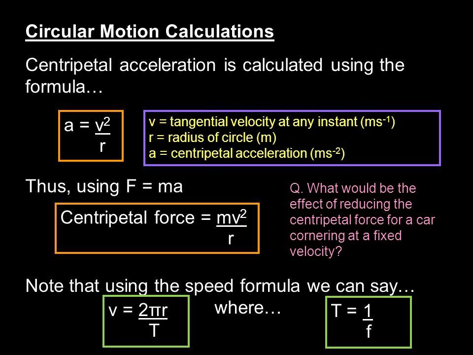 Circular Motion Calculations