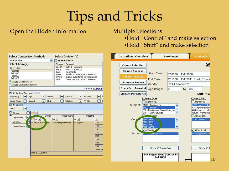 Tips and Tricks Open the Hidden Information Multiple Selections