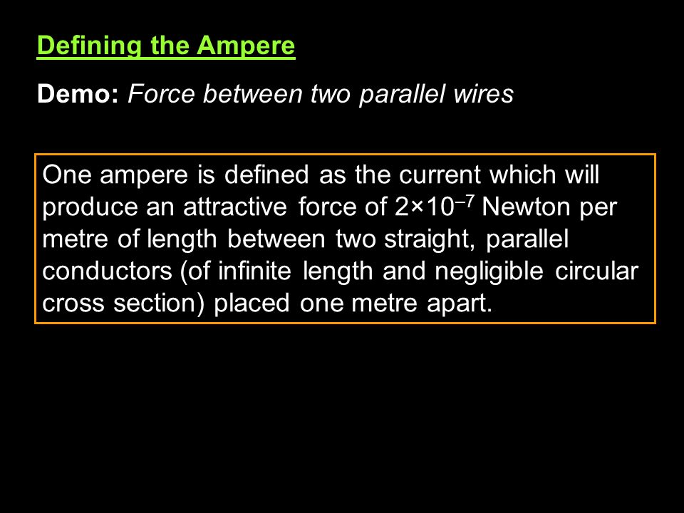 Defining the Ampere Demo: Force between two parallel wires.