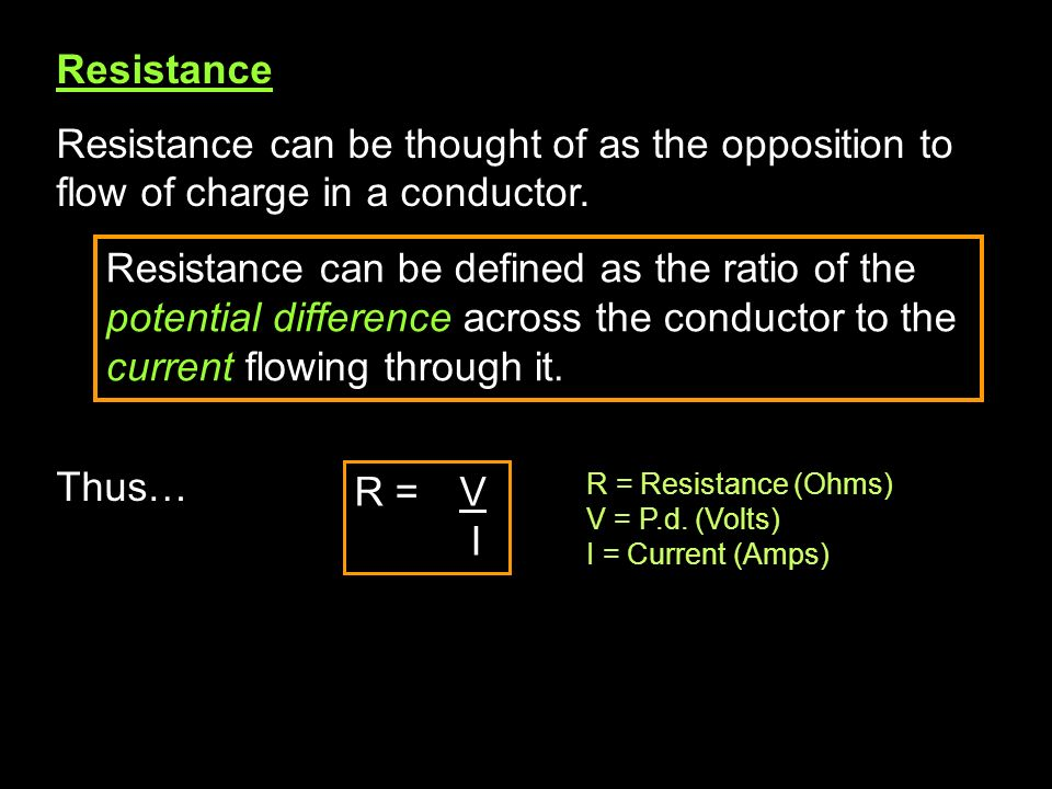 Resistance Resistance can be thought of as the opposition to flow of charge in a conductor. Thus…