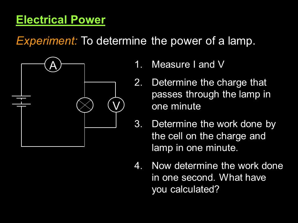 Experiment: To determine the power of a lamp.