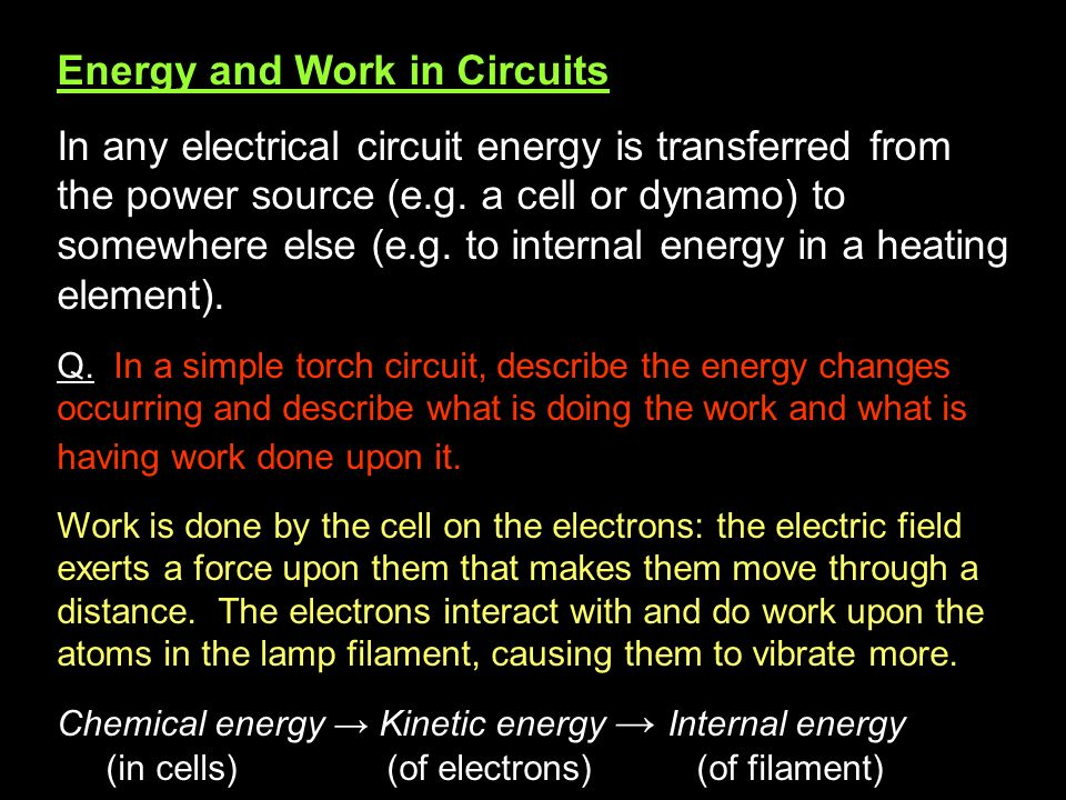Energy and Work in Circuits