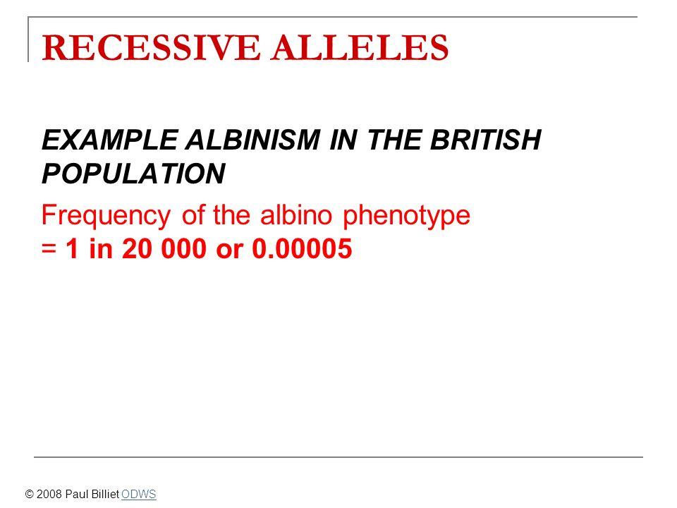 RECESSIVE ALLELES EXAMPLE ALBINISM IN THE BRITISH POPULATION