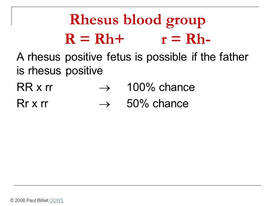 Rhesus blood group R = Rh+ r = Rh-