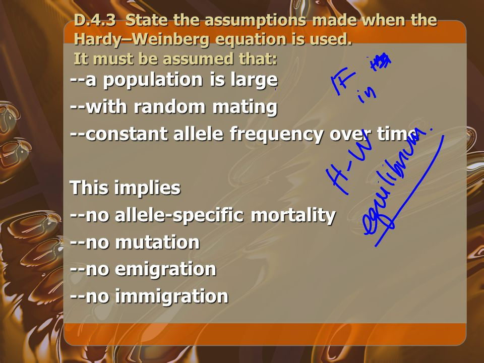 --a population is large --with random mating