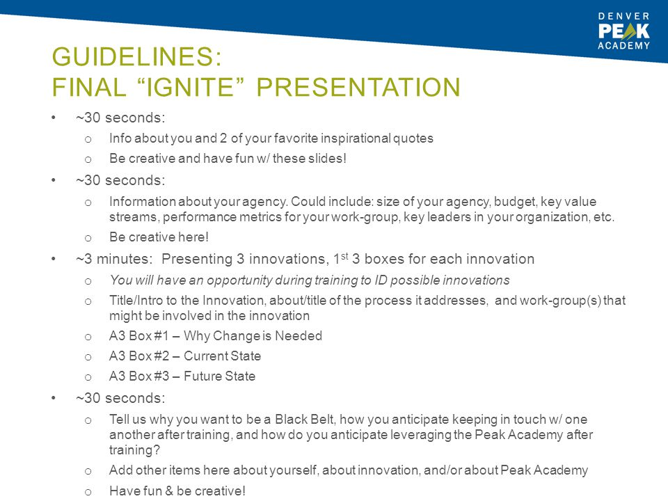Guidelines: Final Ignite Presentation