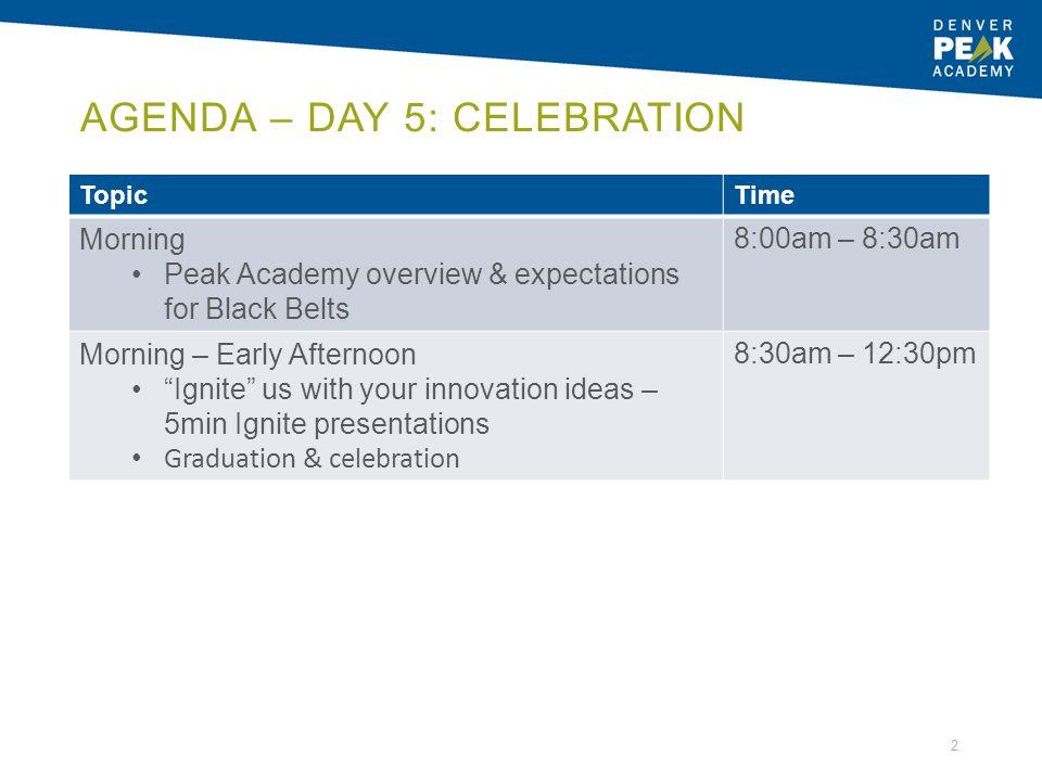 Agenda – Day 5: Celebration