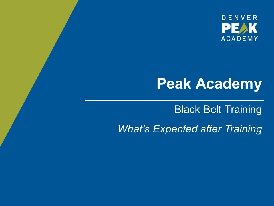 Peak Academy Black Belt Training What's Expected after Training