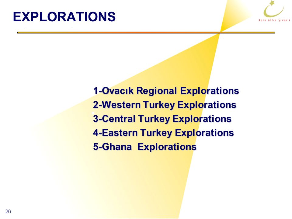 EXPLORATIONS 1-Ovacık Regional Explorations