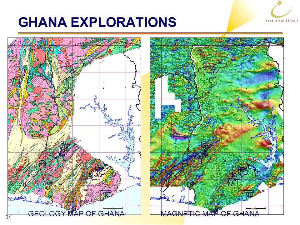 GHANA EXPLORATIONS GEOLOGY MAP OF GHANA MAGNETIC MAP OF GHANA