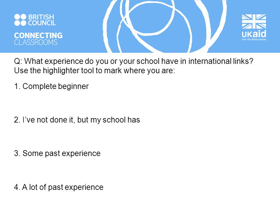 Q: What experience do you or your school have in international links