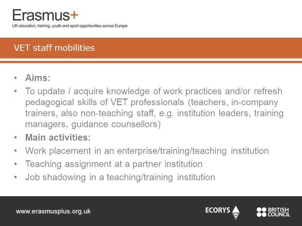 Work placement in an enterprise/training/teaching institution